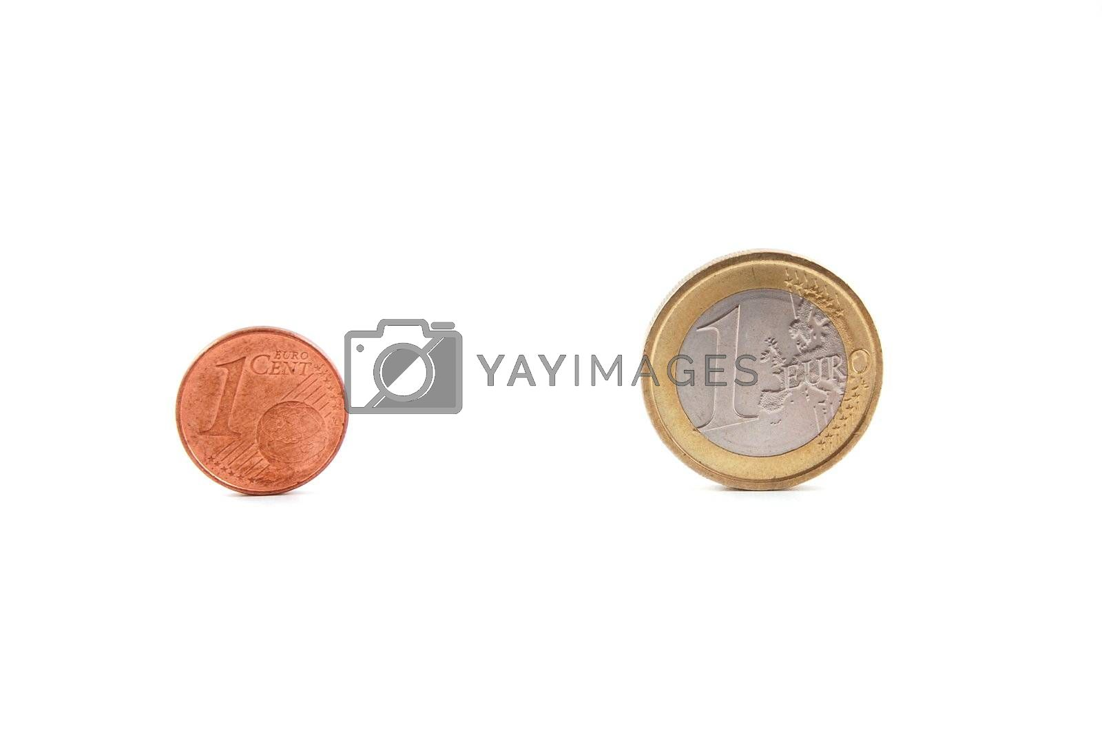 Some coins isolated on a white background.