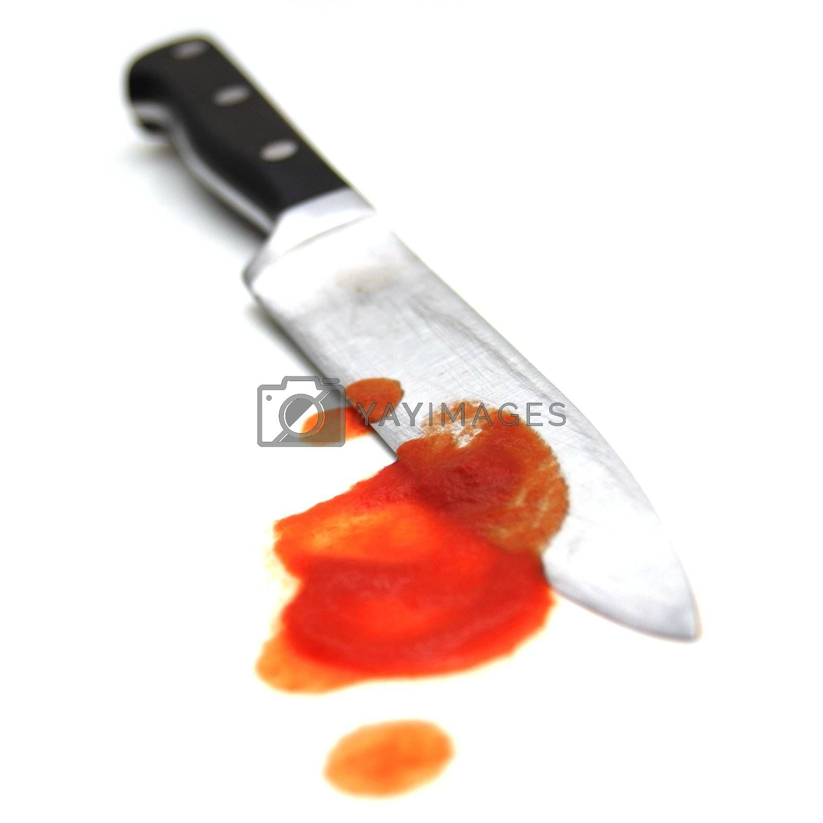 Halloween or murder crime concept with bloody knife