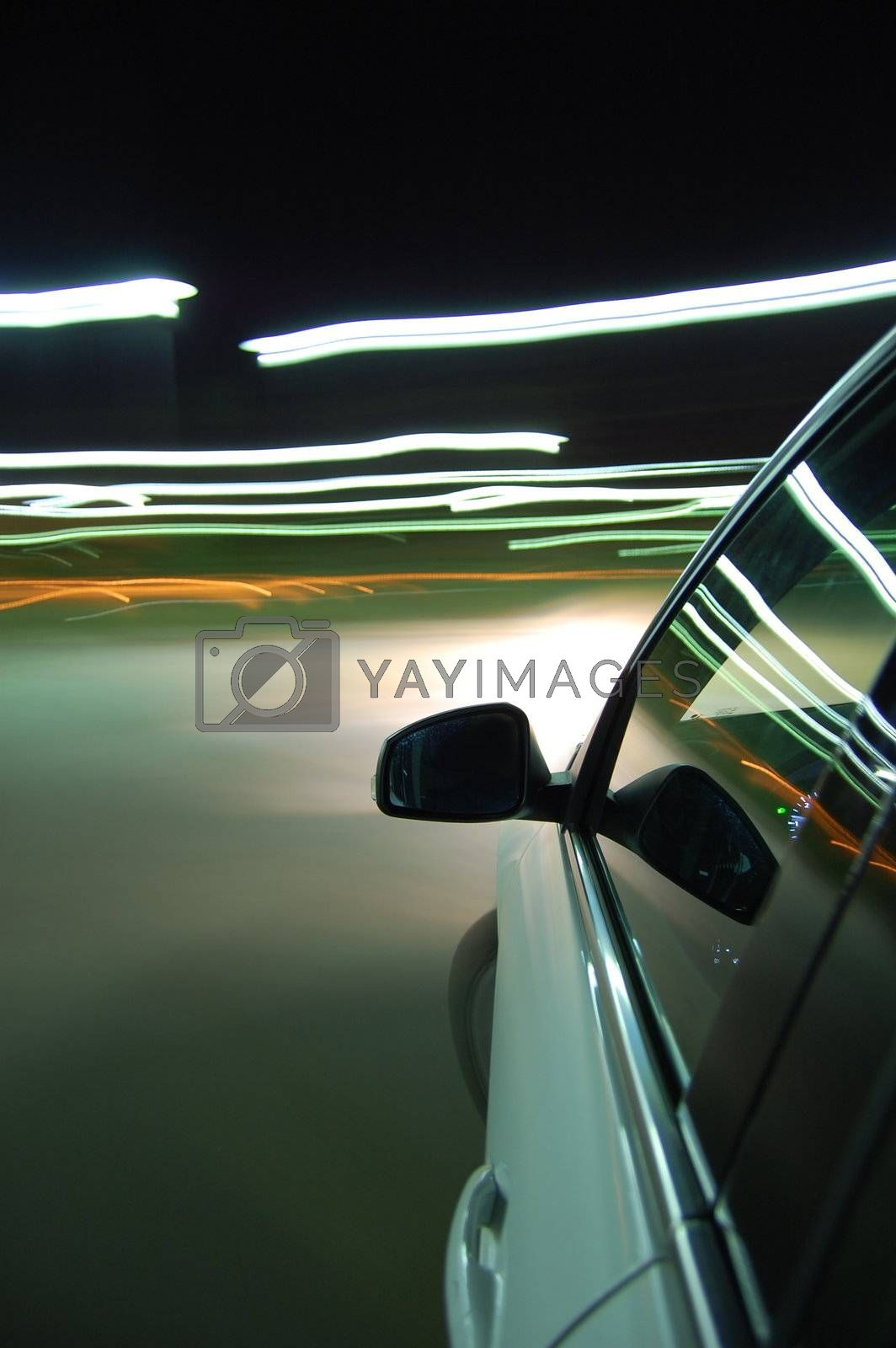 night drive with car in motion through the city shows the speed