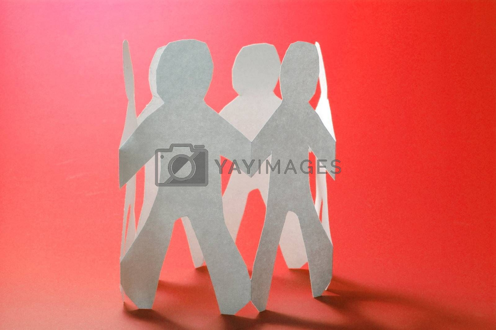 teamwork love help and family concept with paper man