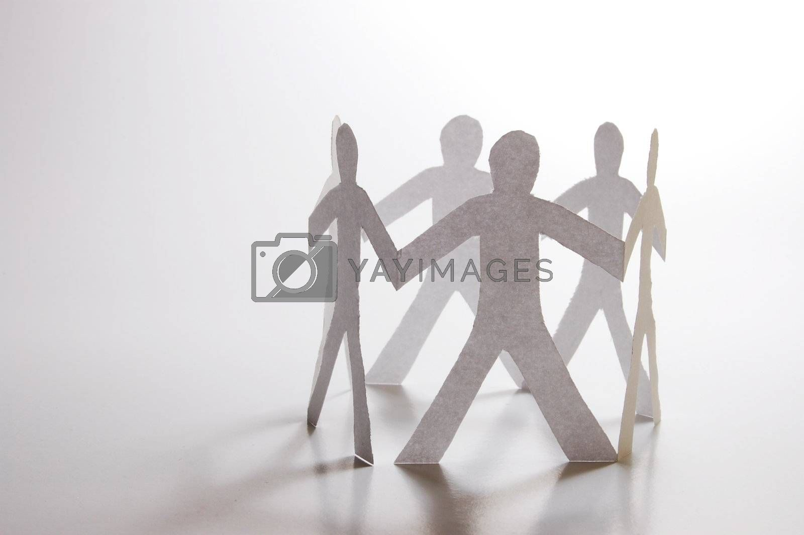 paper man showing concept for business teamwork and love