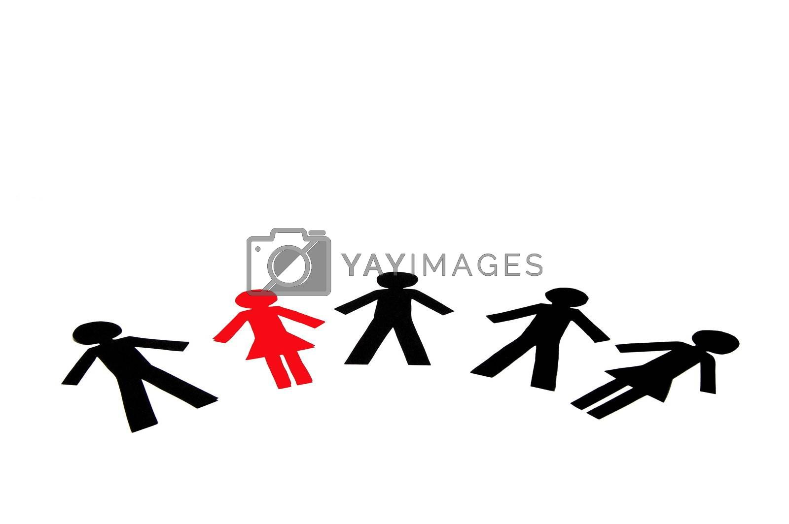 Some People made of Paper isolated on white background.