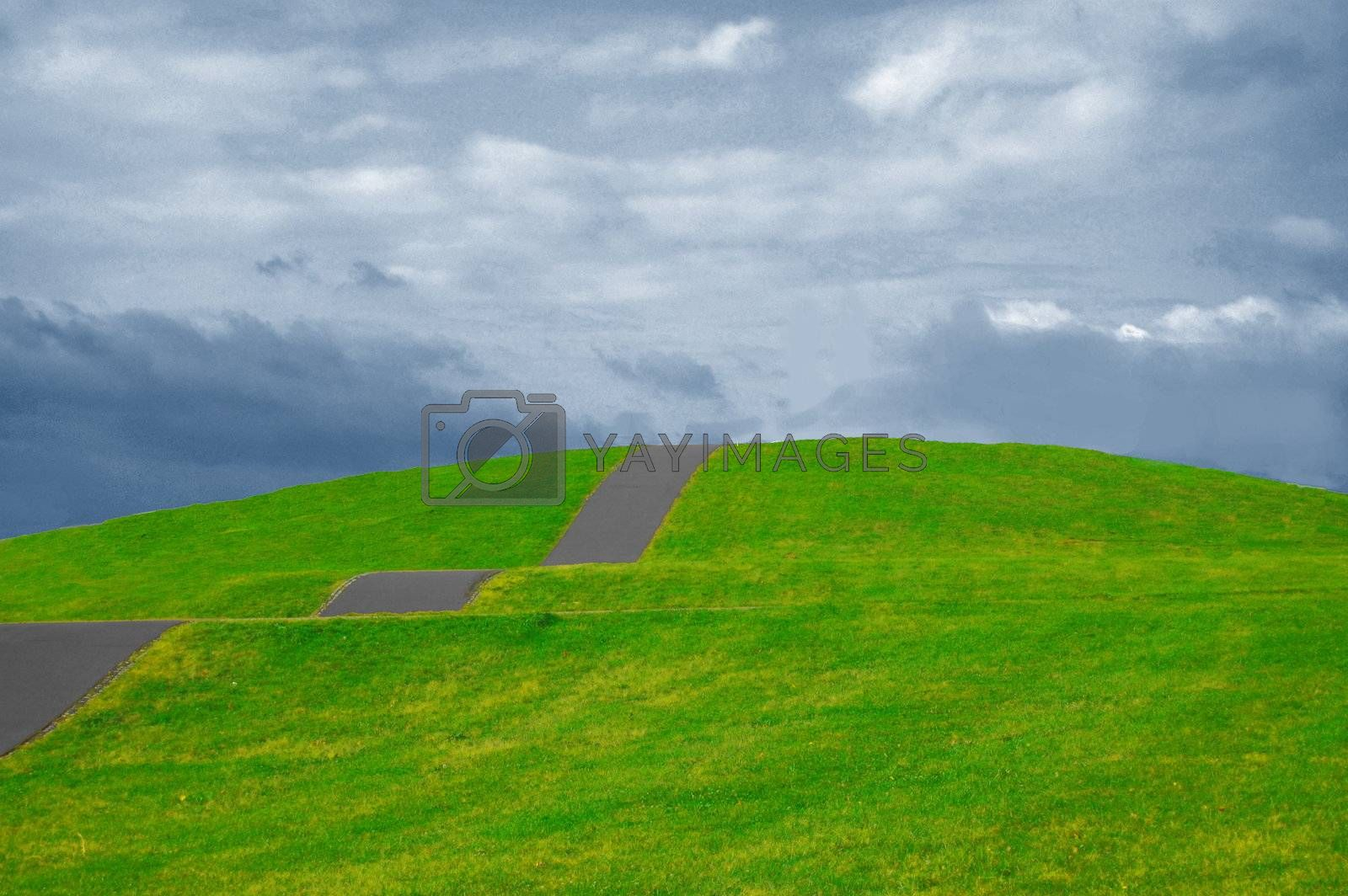 colorful grassland in summer under cloudy sky with path up the hill