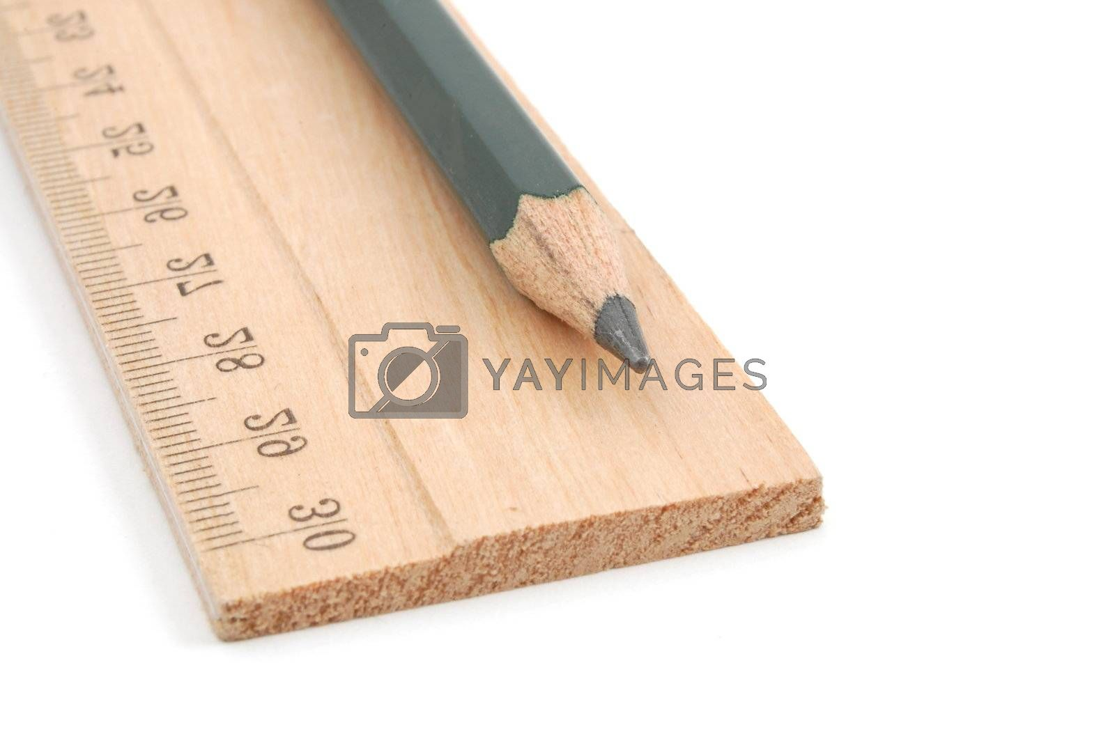 pencil and ruler isolated on white background