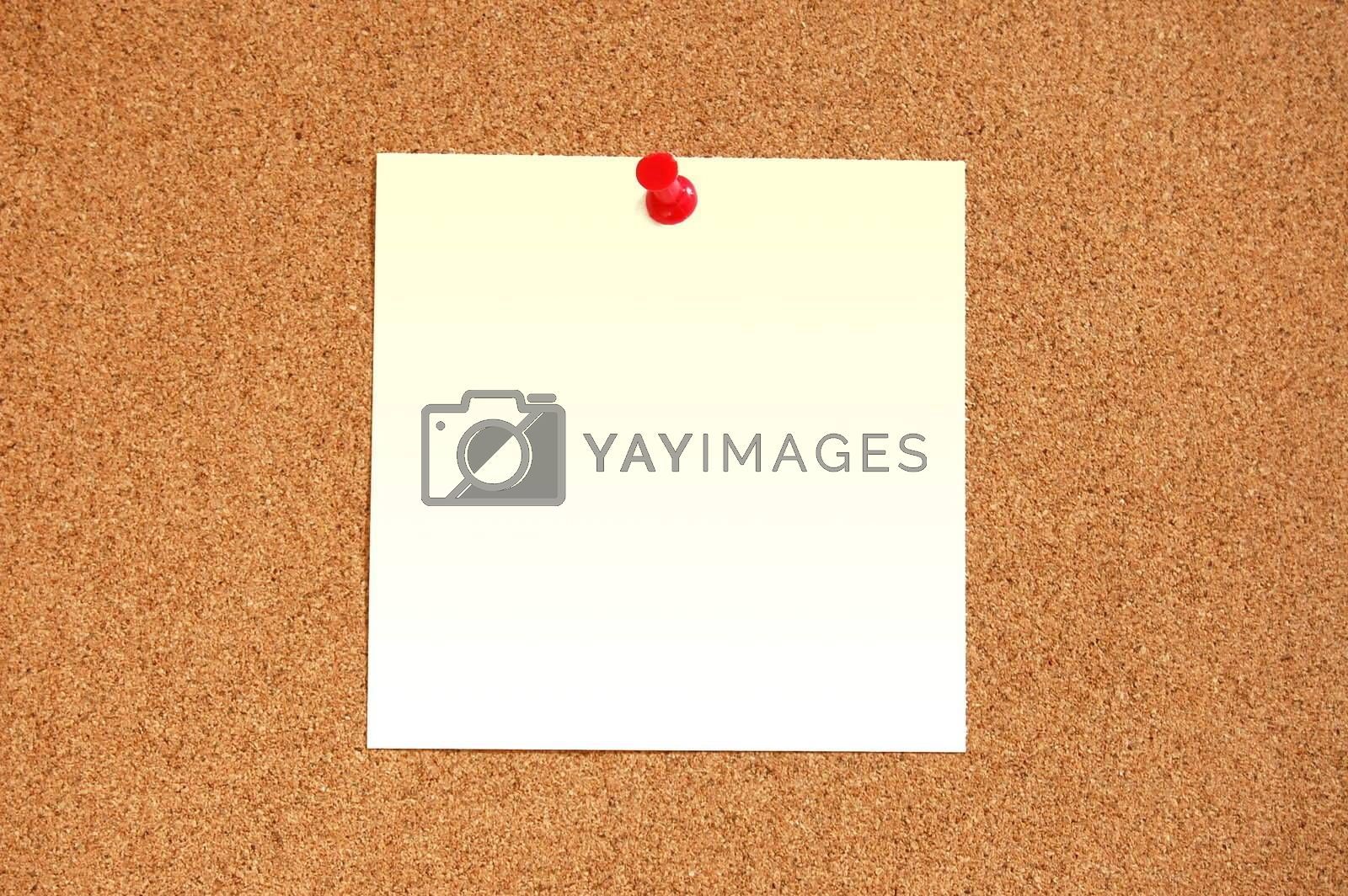 blank sheet paper with copyspace and pin on bulletin board