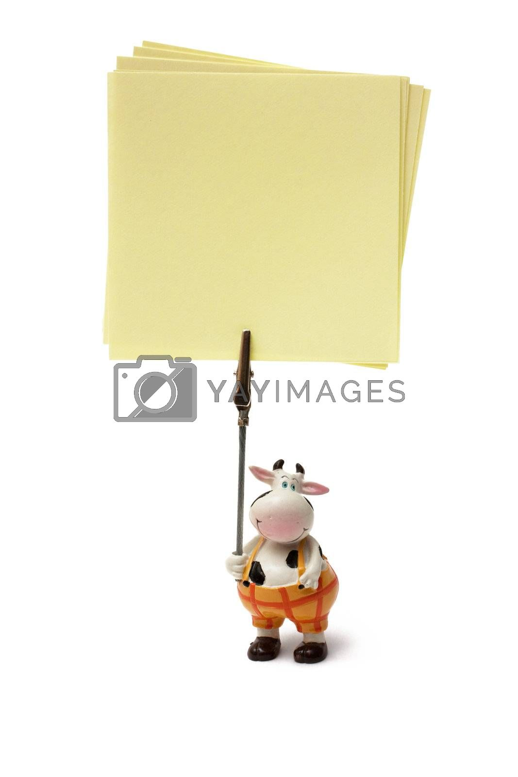 Cow-shaped support for a note