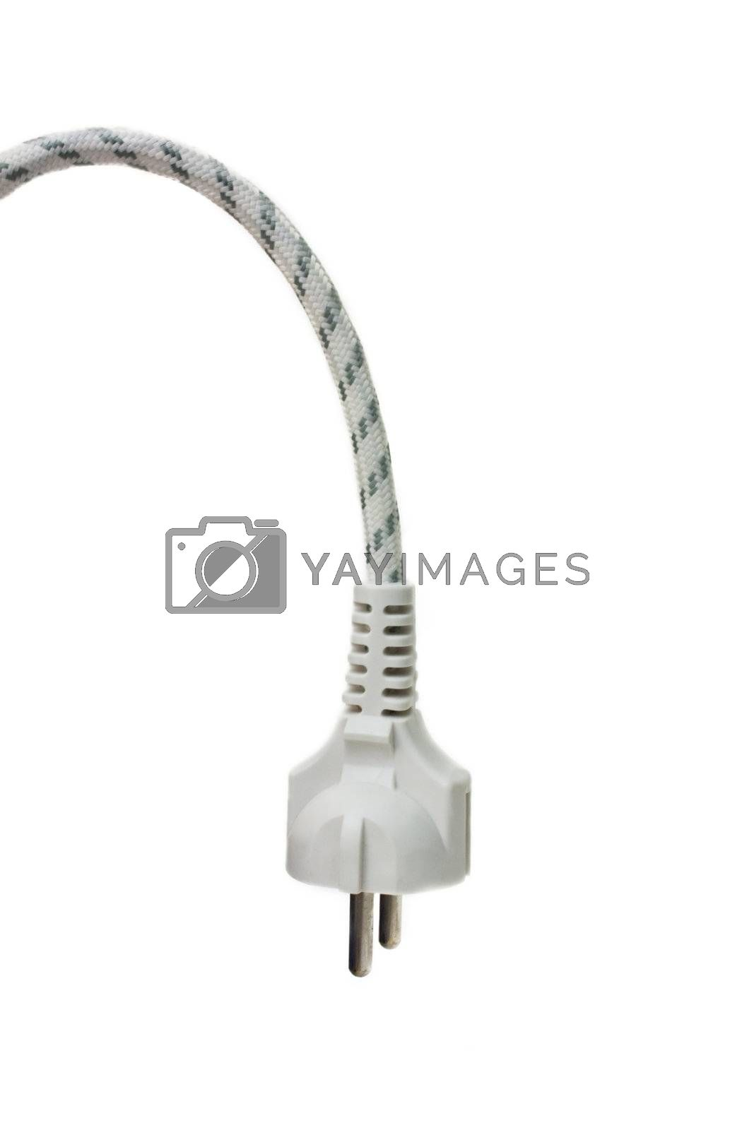 Plug without current isolated on white. Unplugged.