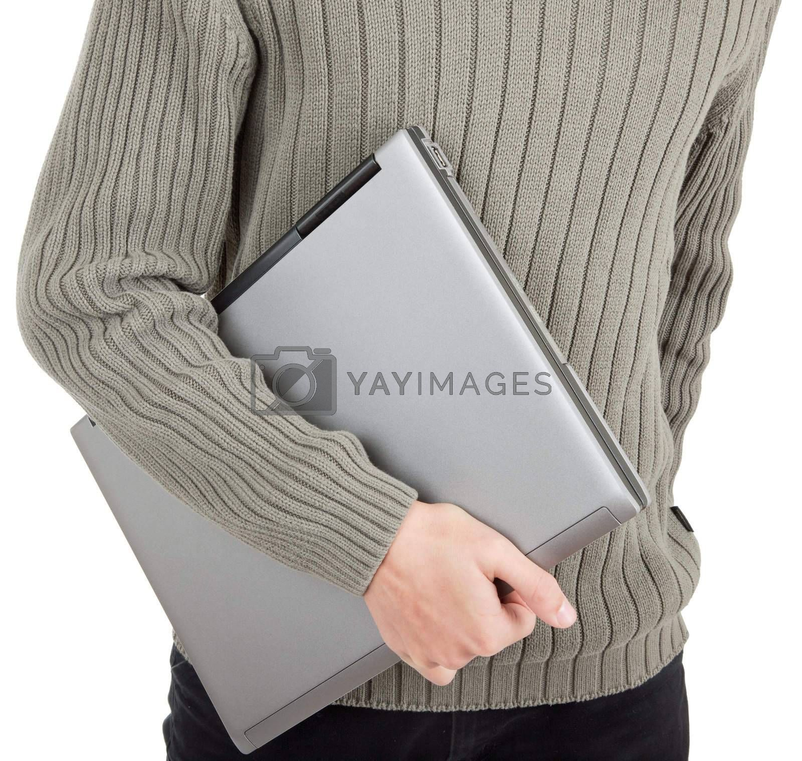 young man  handing  laptop on white background
