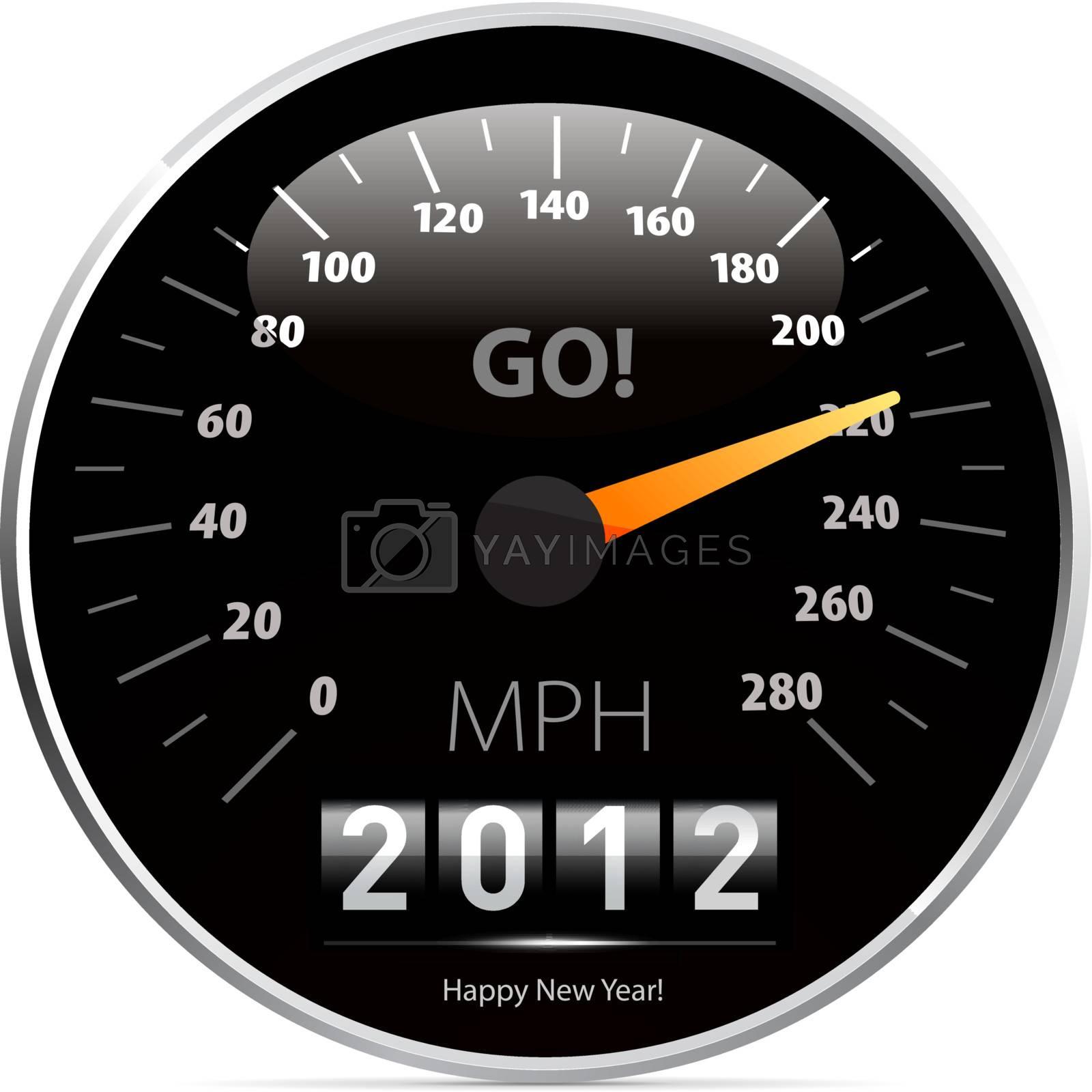 2012 year Calendar speedometer car. Vector illustration