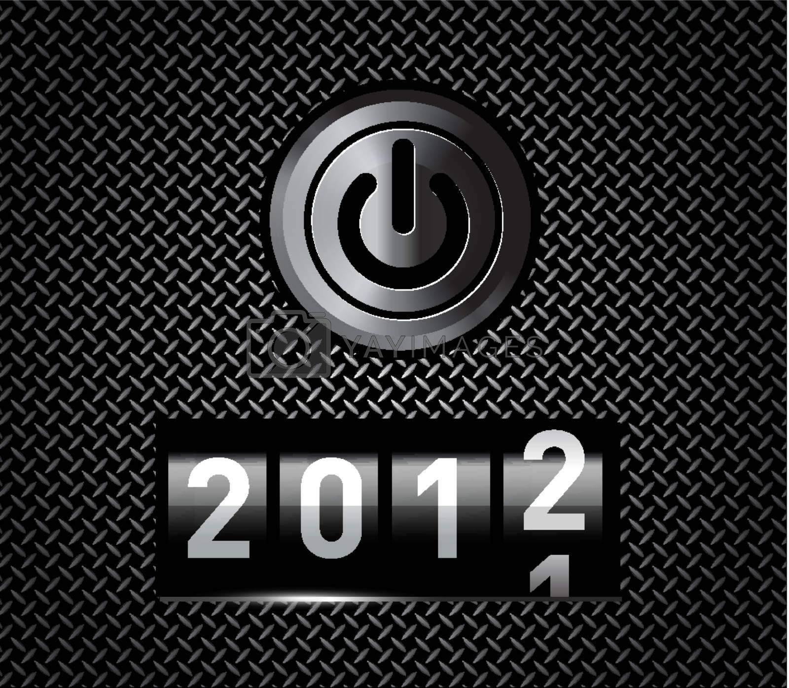 New Year counter 2012 on black metal pattern with power button
