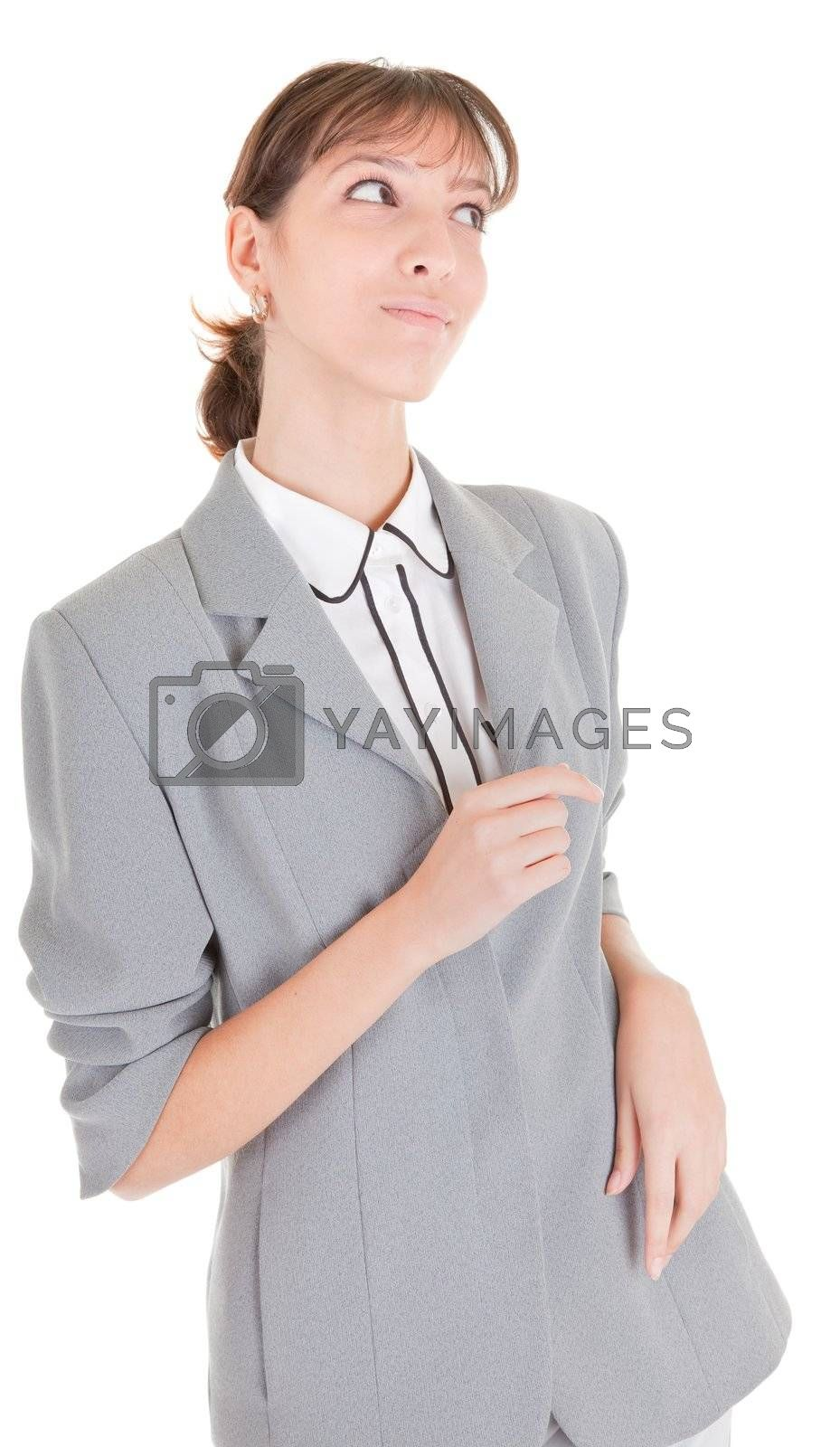 woman in business clothing listen on white