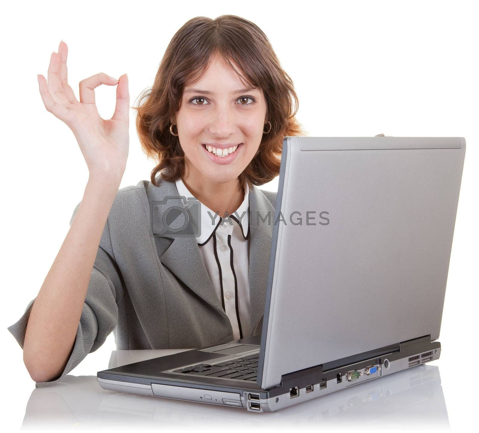 business woman  and laptop on white background