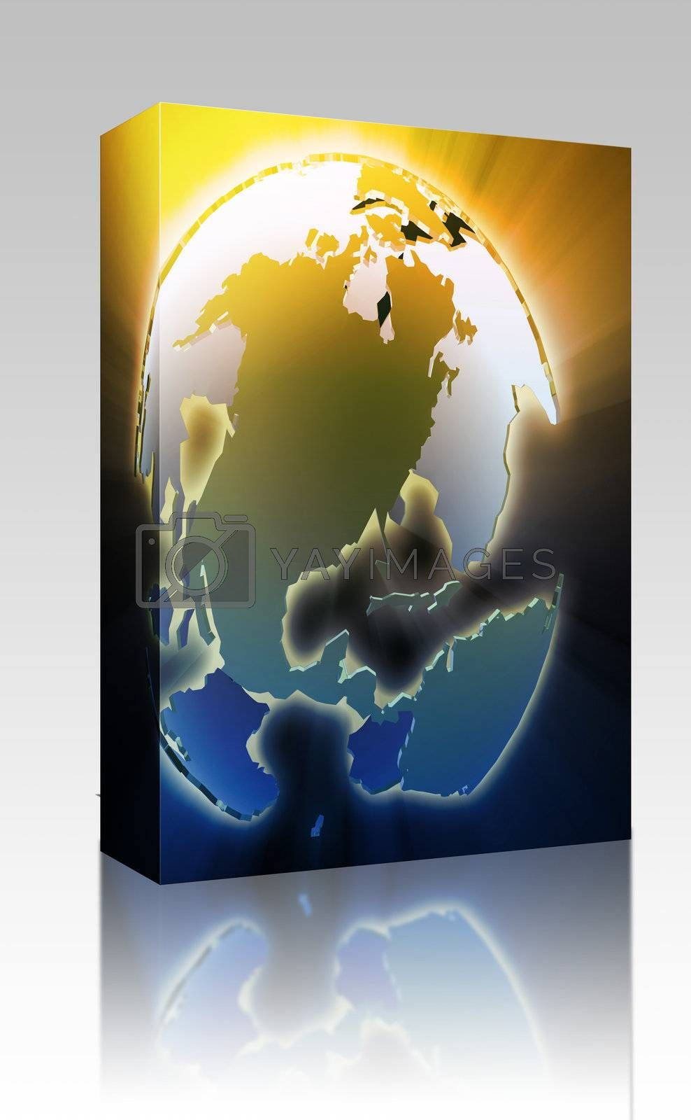Software package box Globe map illustration of the Americas continents