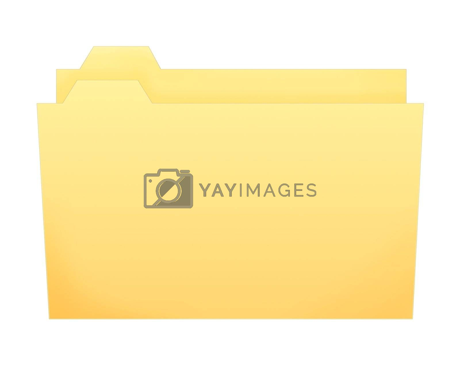 regular yellow folder little open on white background