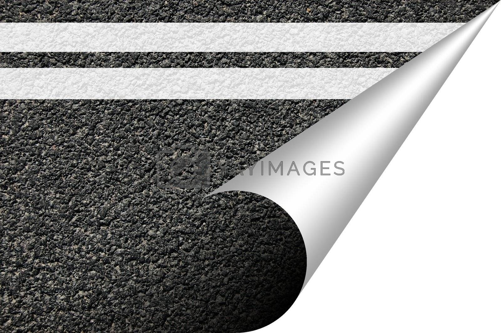 black asphalt texture with corner and copyspace for text