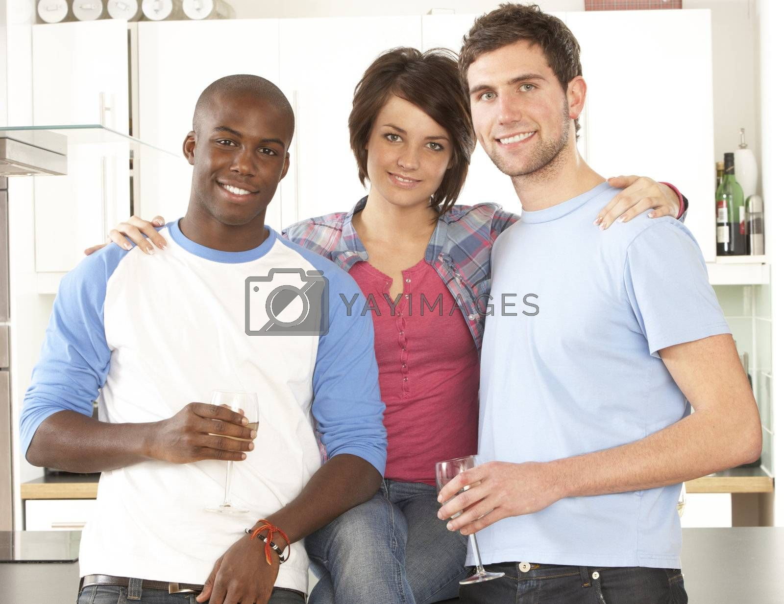 Group Of Young Friends Enjoying Glass Of Wine In Modern Kitchen