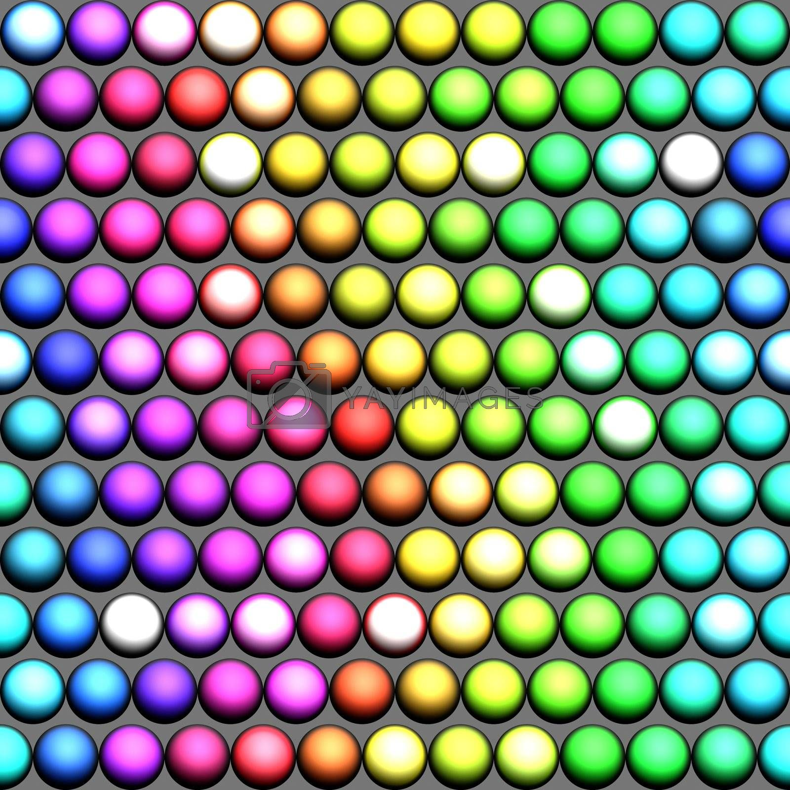 seamless pattern of marble spheres in prism colors