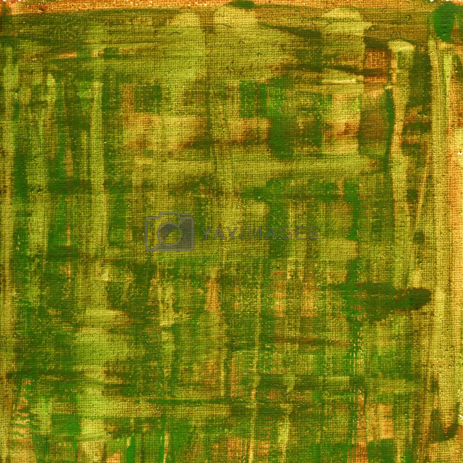 green, brown, yellow watercolor abstract with canvas texture by PixelsAway