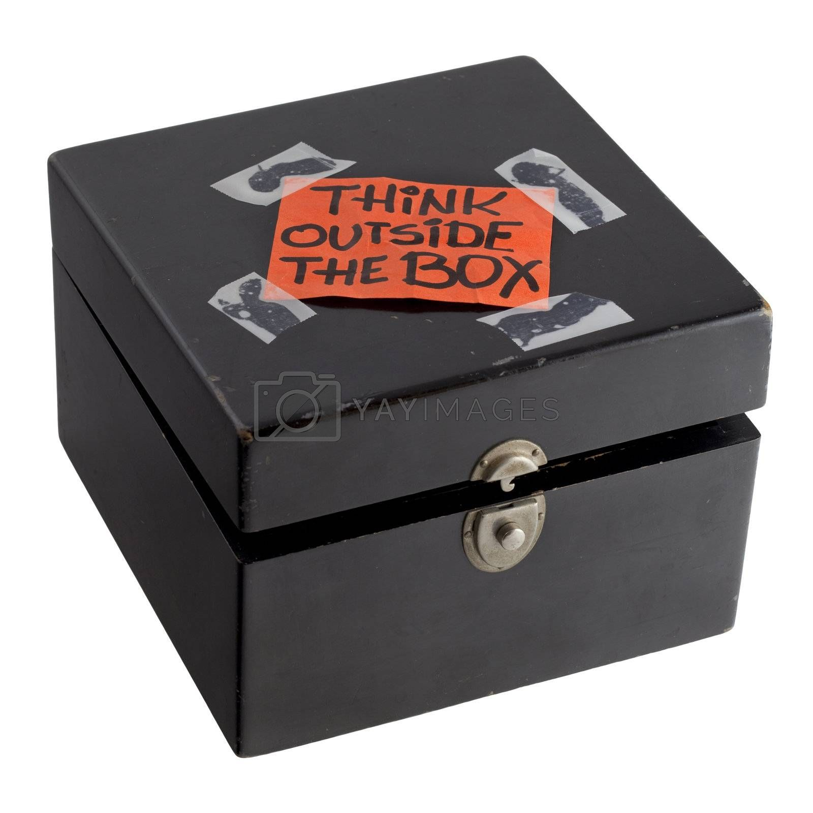 think outside the box concept or reminder by PixelsAway