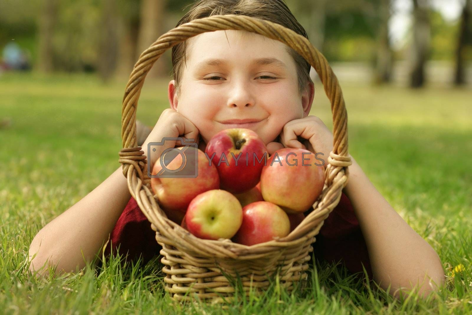 Child with a Basket of Apples by lovleah
