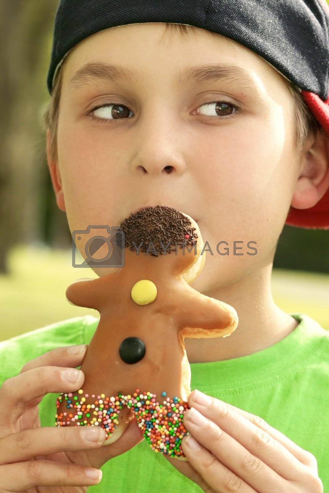 Boy with a dough-nut man by lovleah