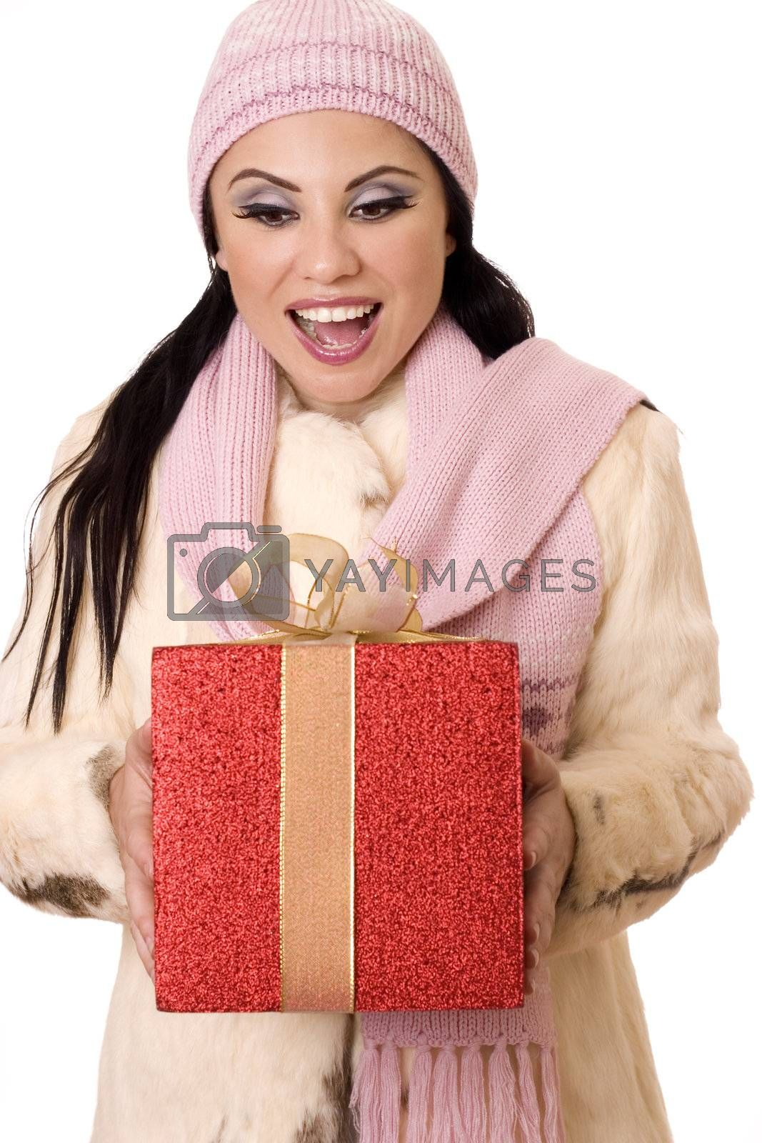 Delightful Surprise - Female holding a large red and gold gift by lovleah