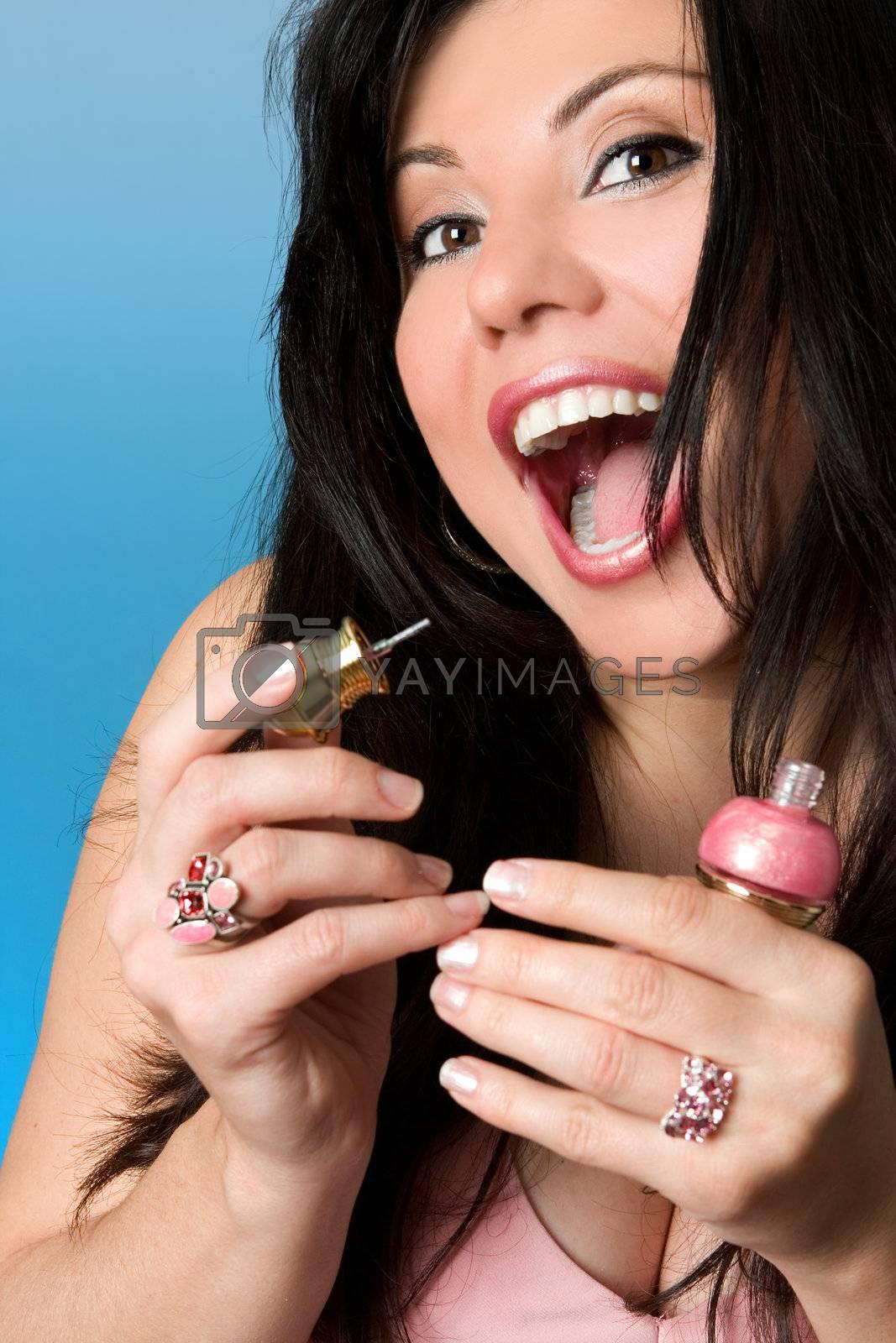 Beauty - woman with pink nailpolish by lovleah