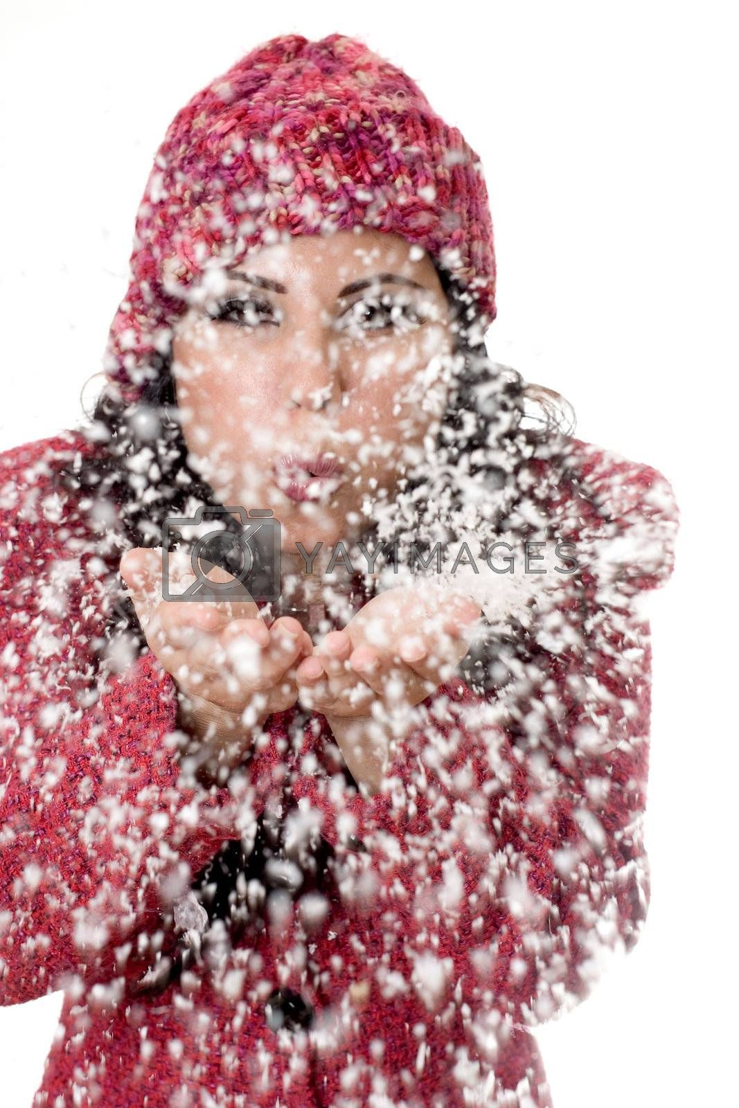Winter woman blowing snow by lovleah