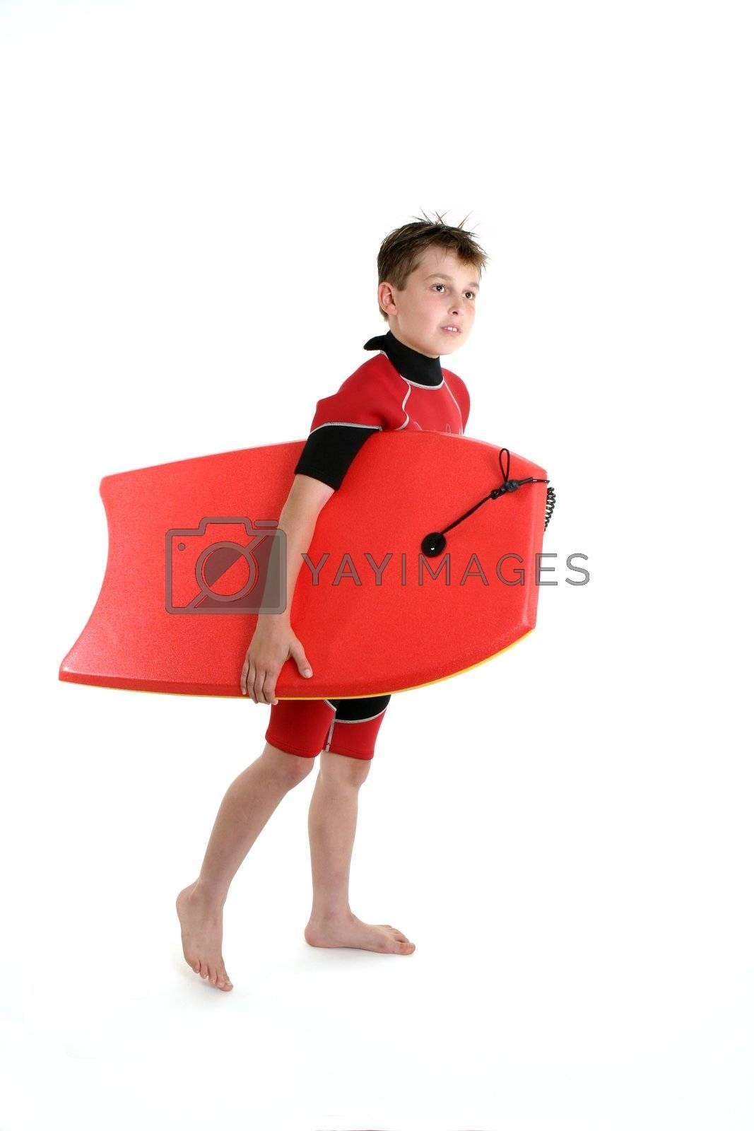 Surfer boy holding a bodyboard by lovleah