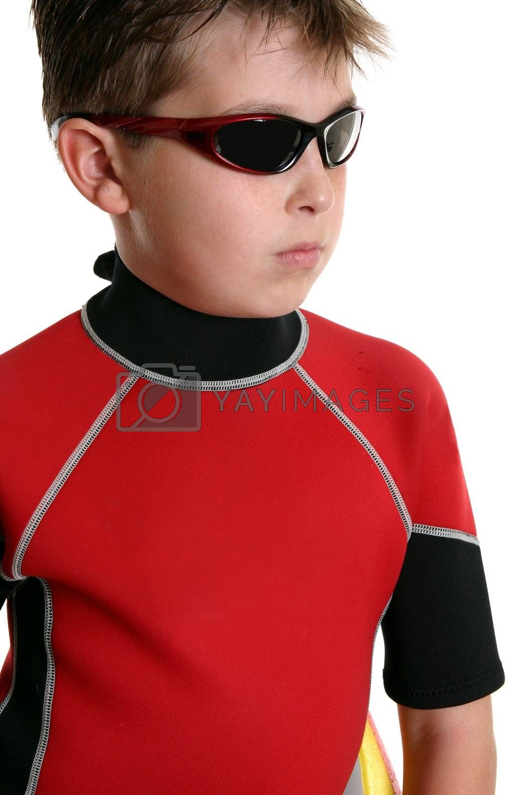 Boy in wetsuit and sunglasses by lovleah