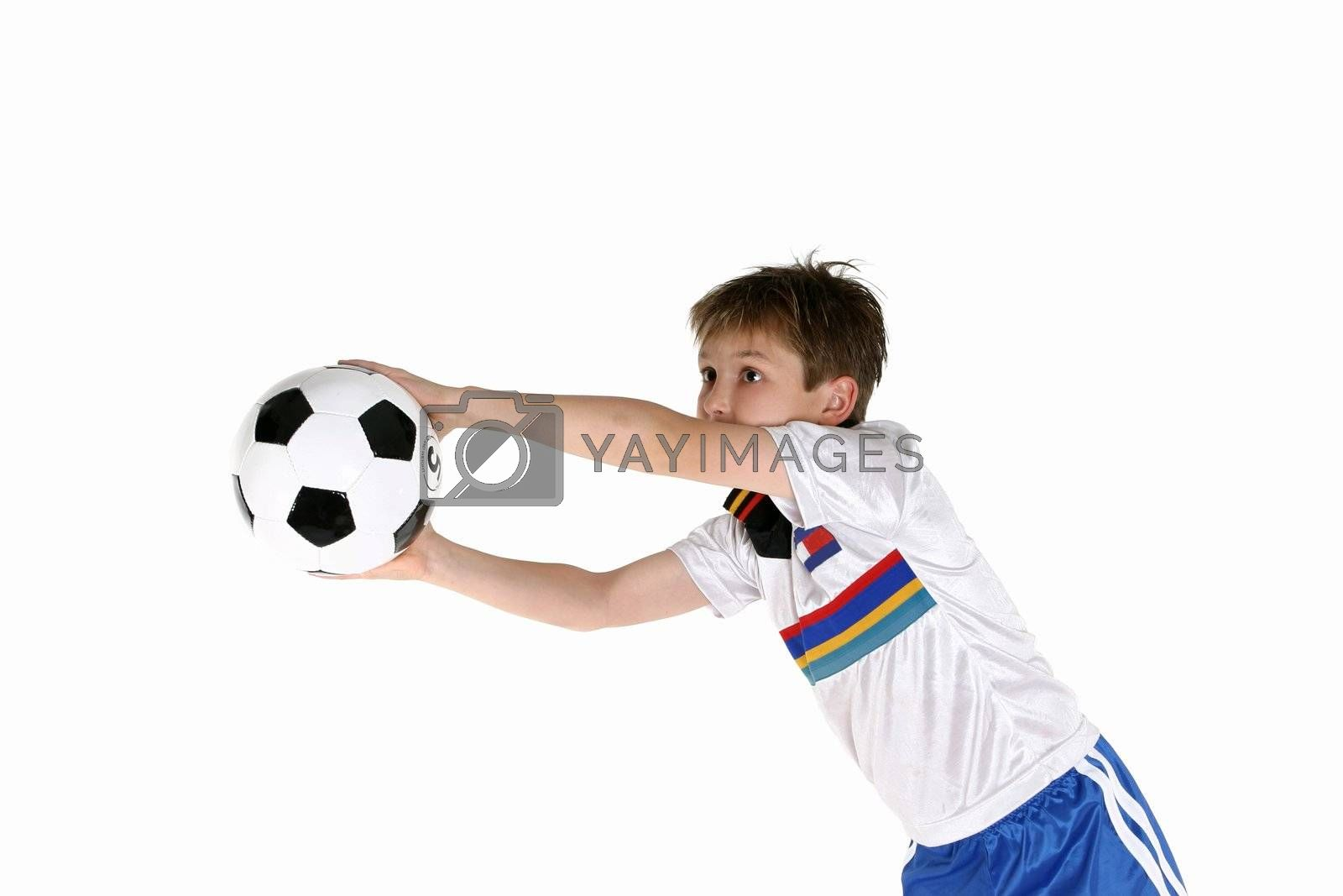 Child playing soccer by lovleah