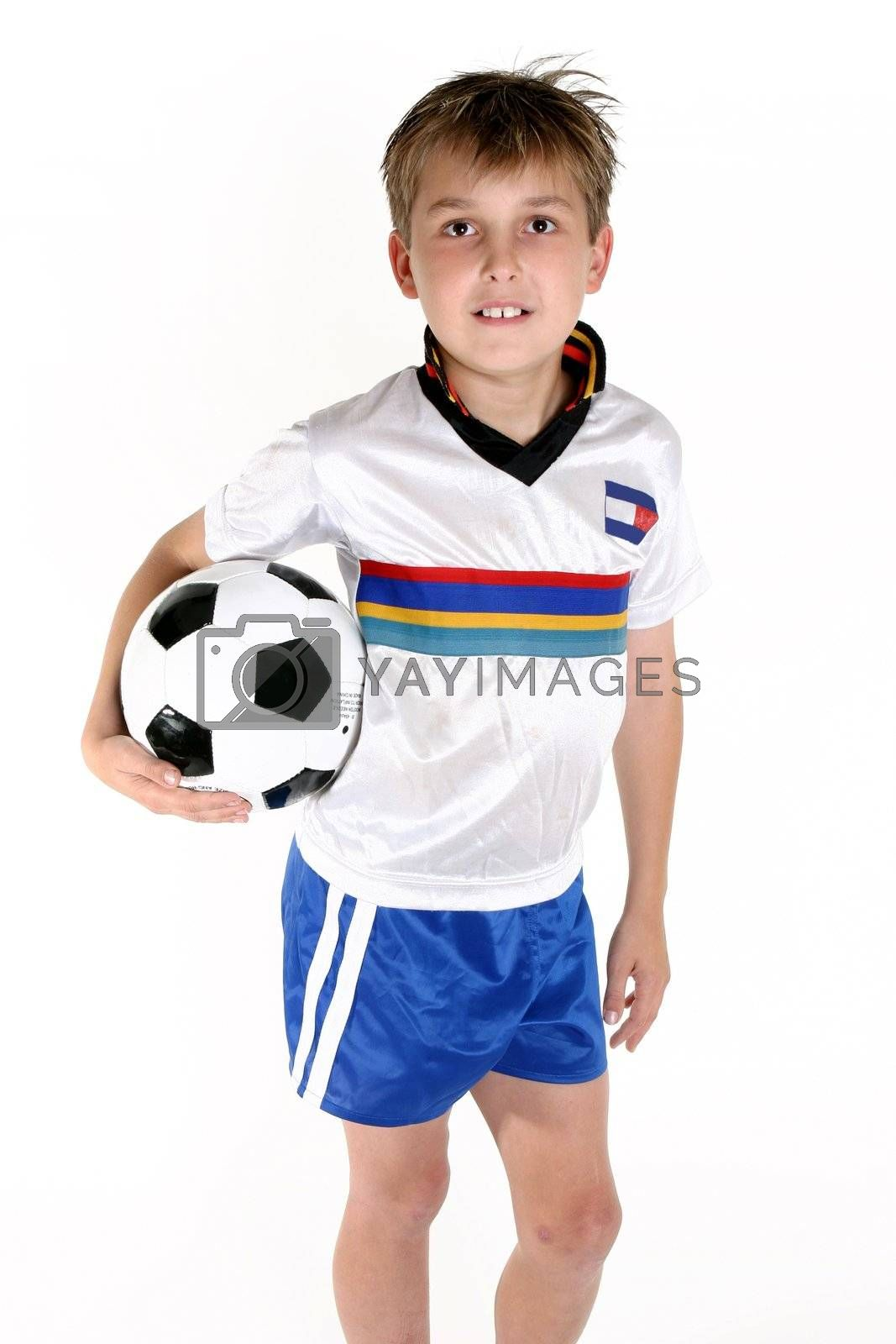 Boy holding a soccer ball by lovleah