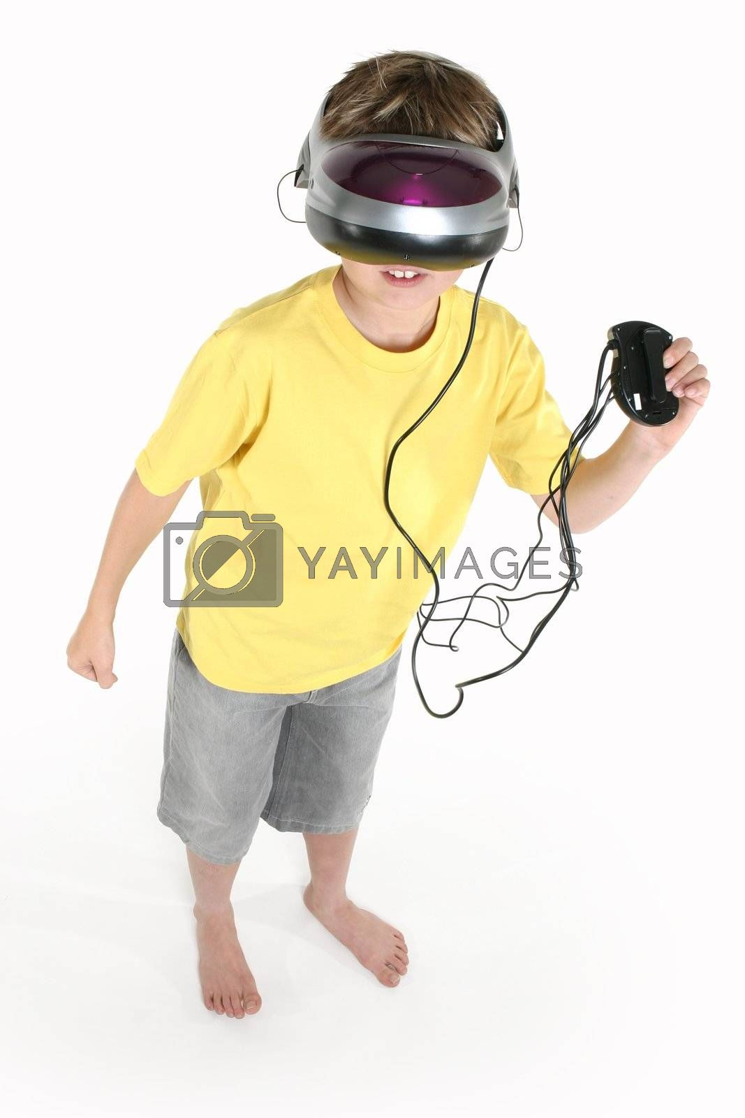 Boy with a virtual reality game by lovleah
