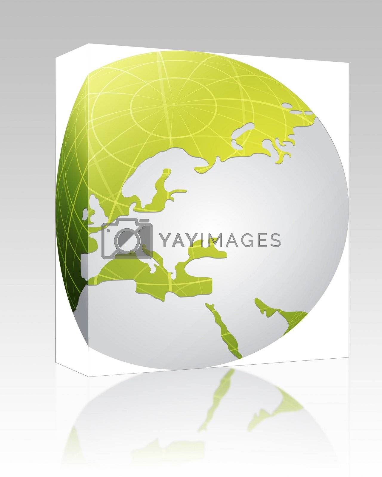 Software package box Globe map illustration of Europe continent countries