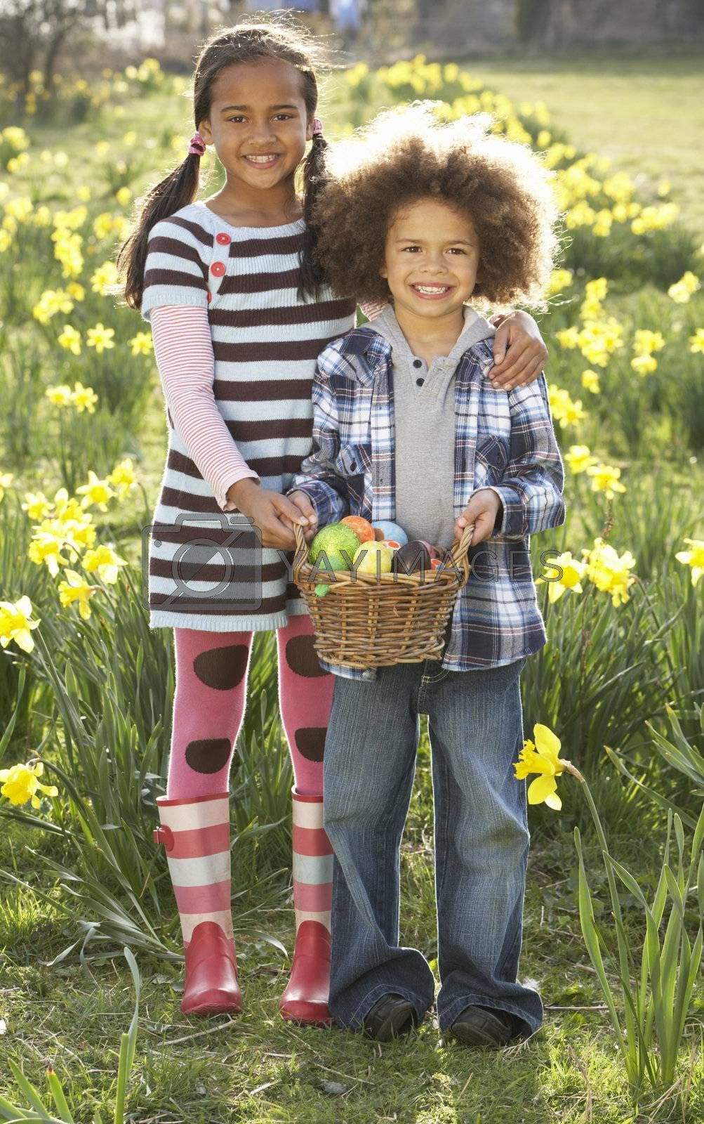 Brother And Sister Having Easter Egg Hunt In Daffodil Field by OMG Images