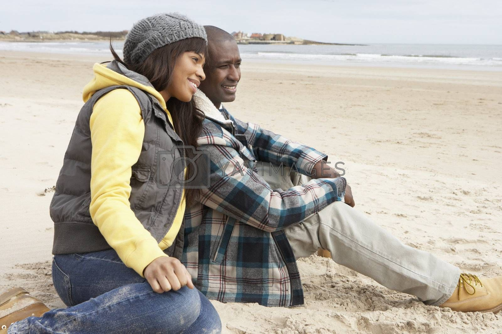 Romantic Young Couple On Winter Beach