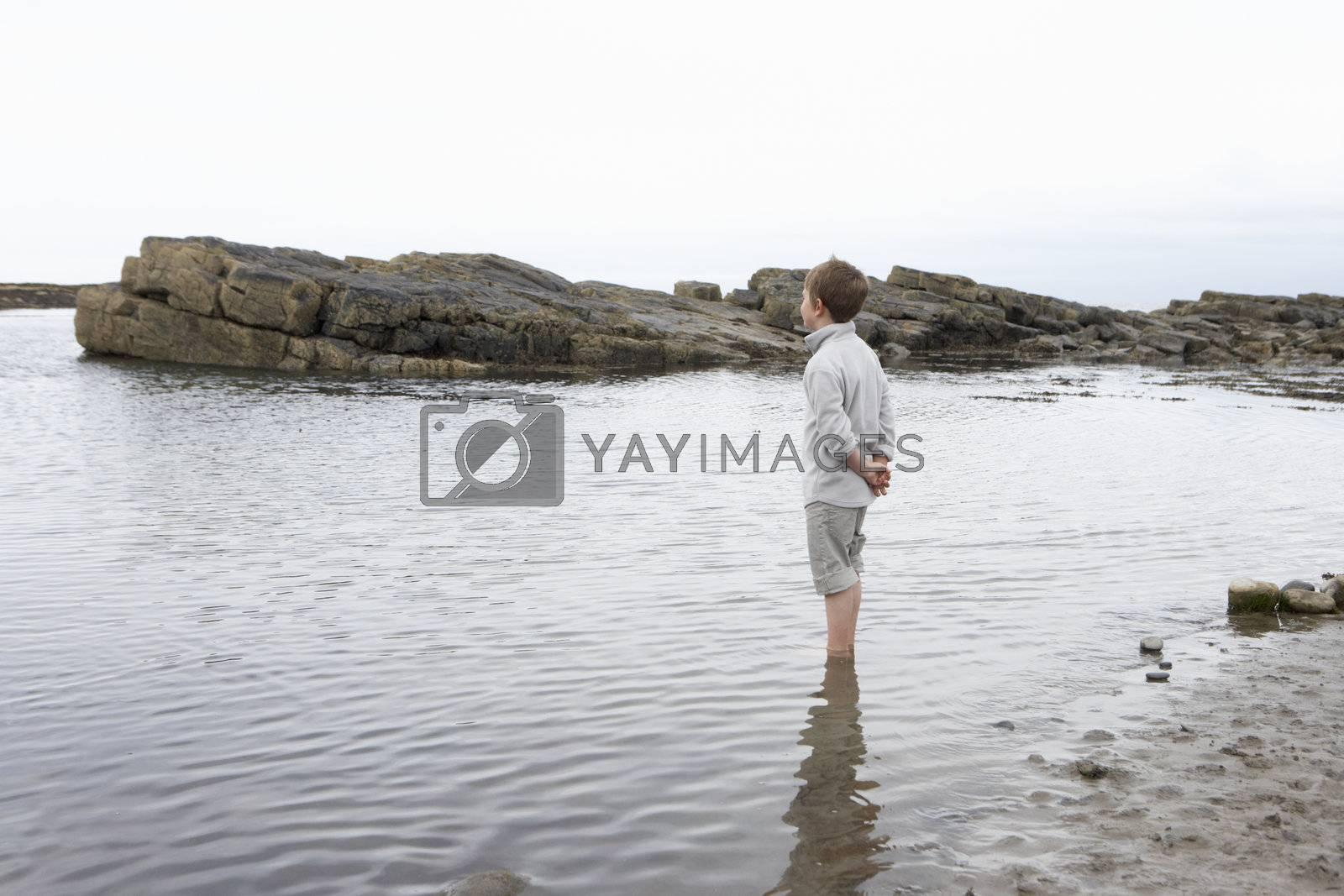 Boy daydreaming on beach