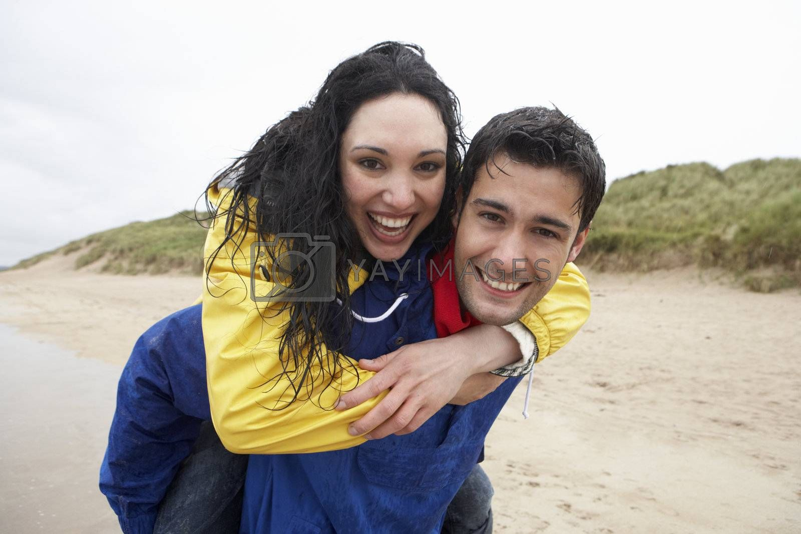Royalty free image of Happy couple on beach in love by omg_images