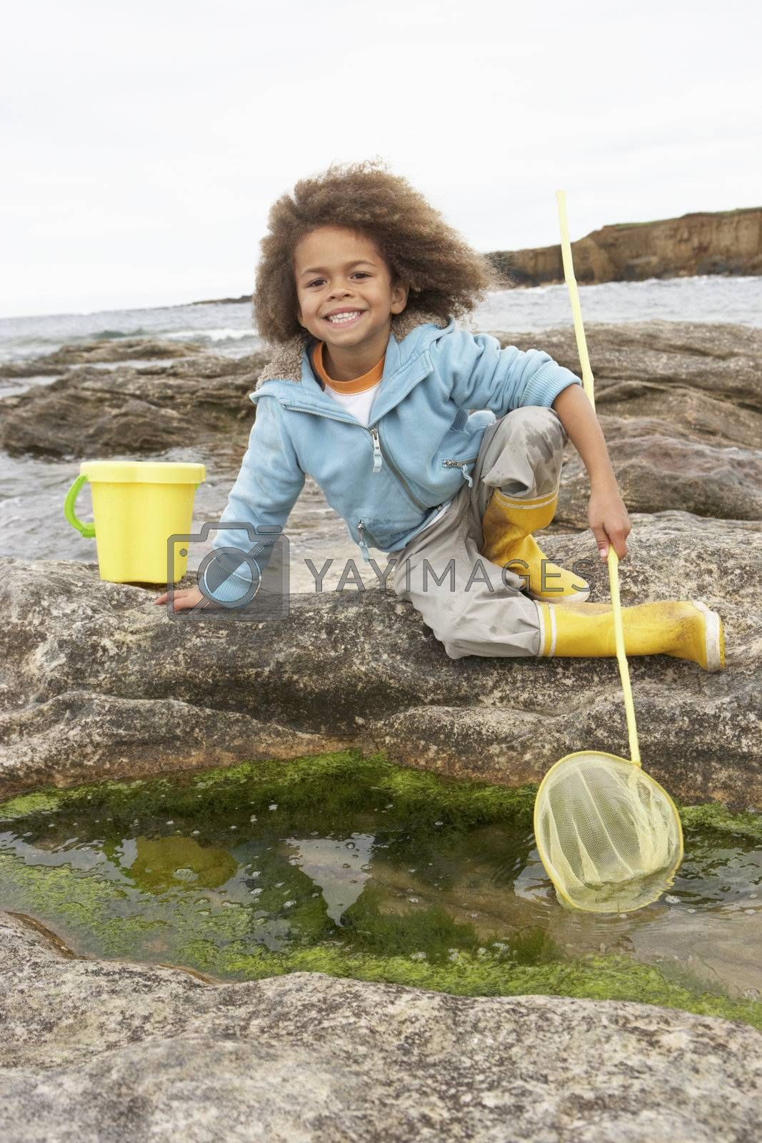 Happy boy with fishing net