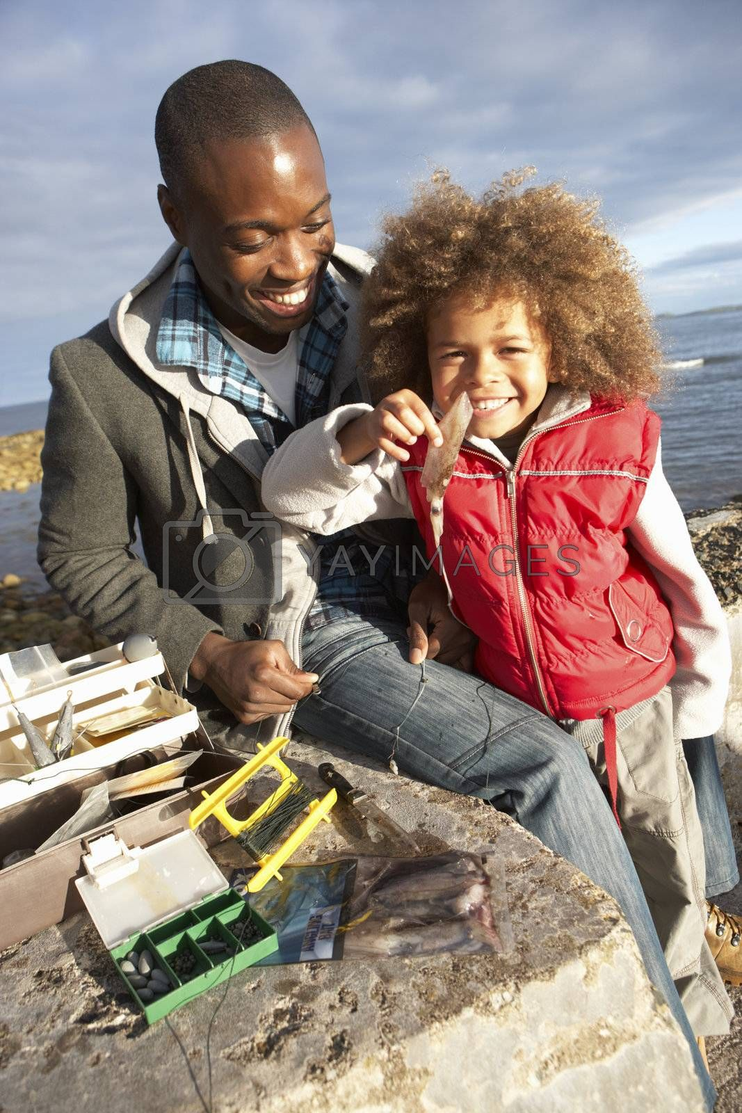 Father with son fishing