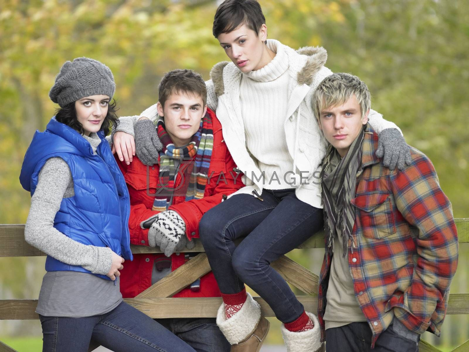 Royalty free image of Young friends sitting on fence by omg_images