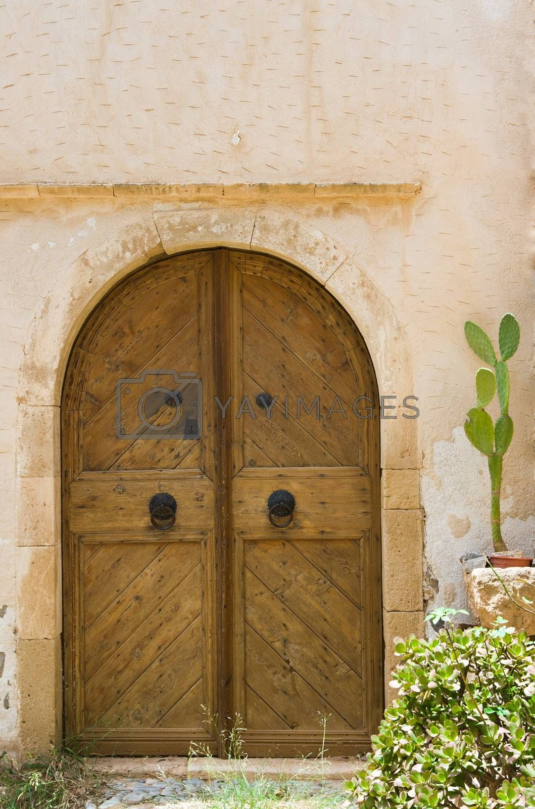 Wooden old style door with wrought handles. Entrance in ancient Mediterranean stone house and cactus