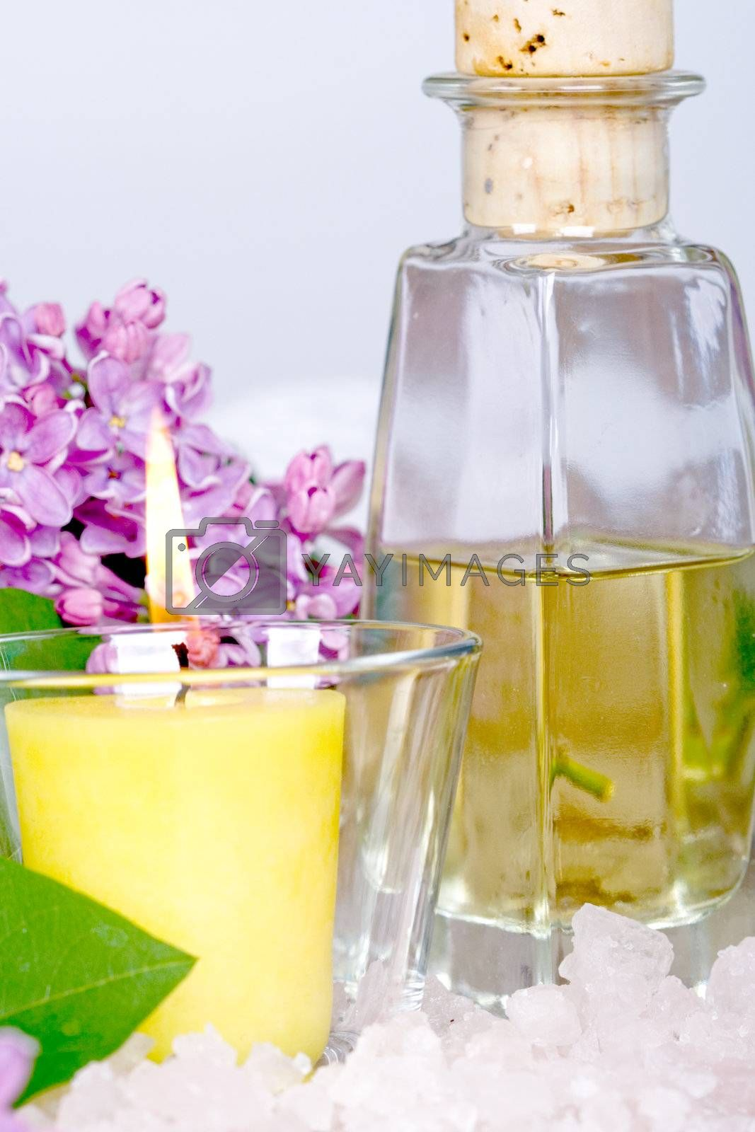 bath and spa items (oil, salt, lilac, candle)