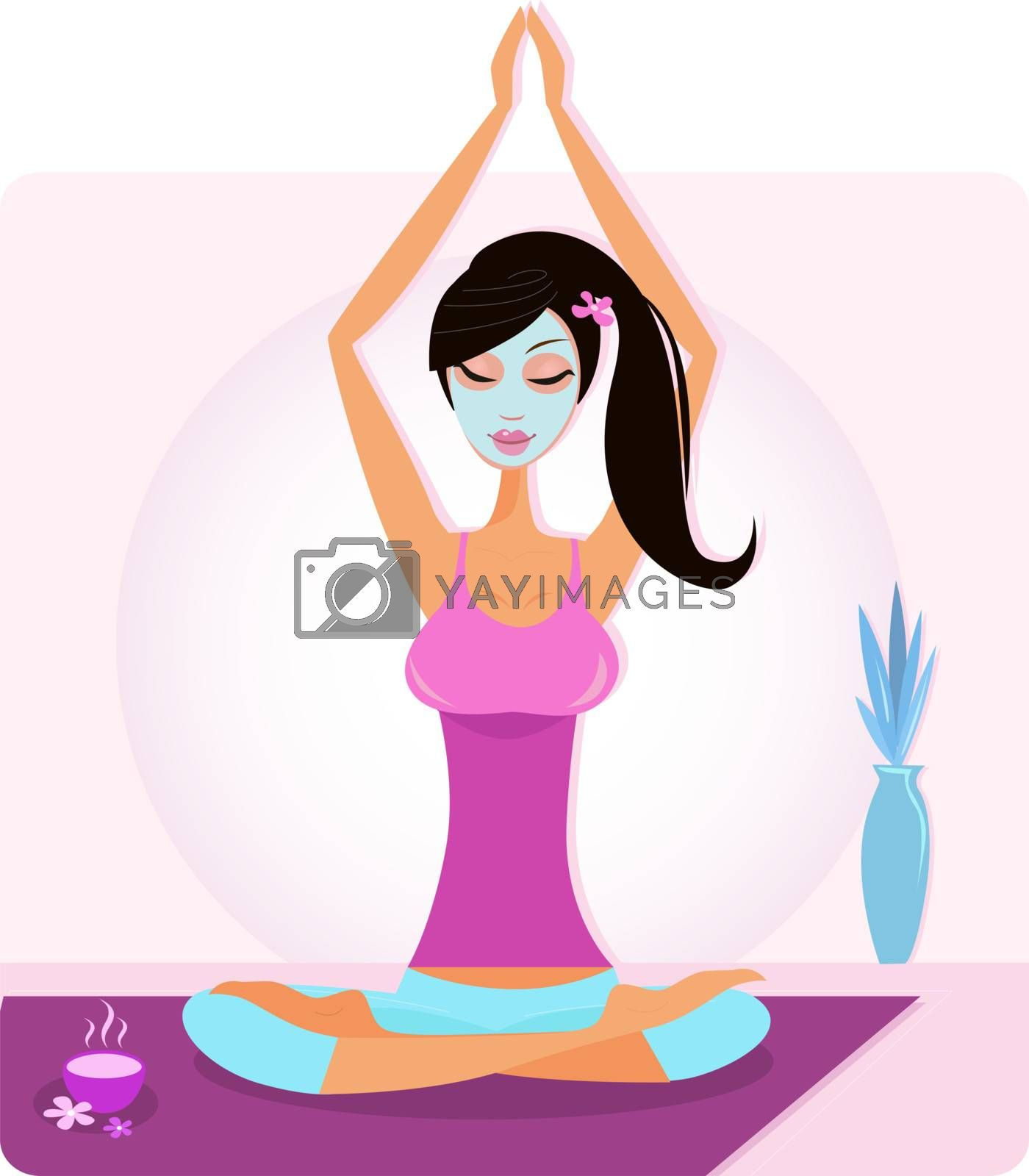 Girl practicing yoga excercise, aromatherapy and cosmetics threatment. Vector Illustration