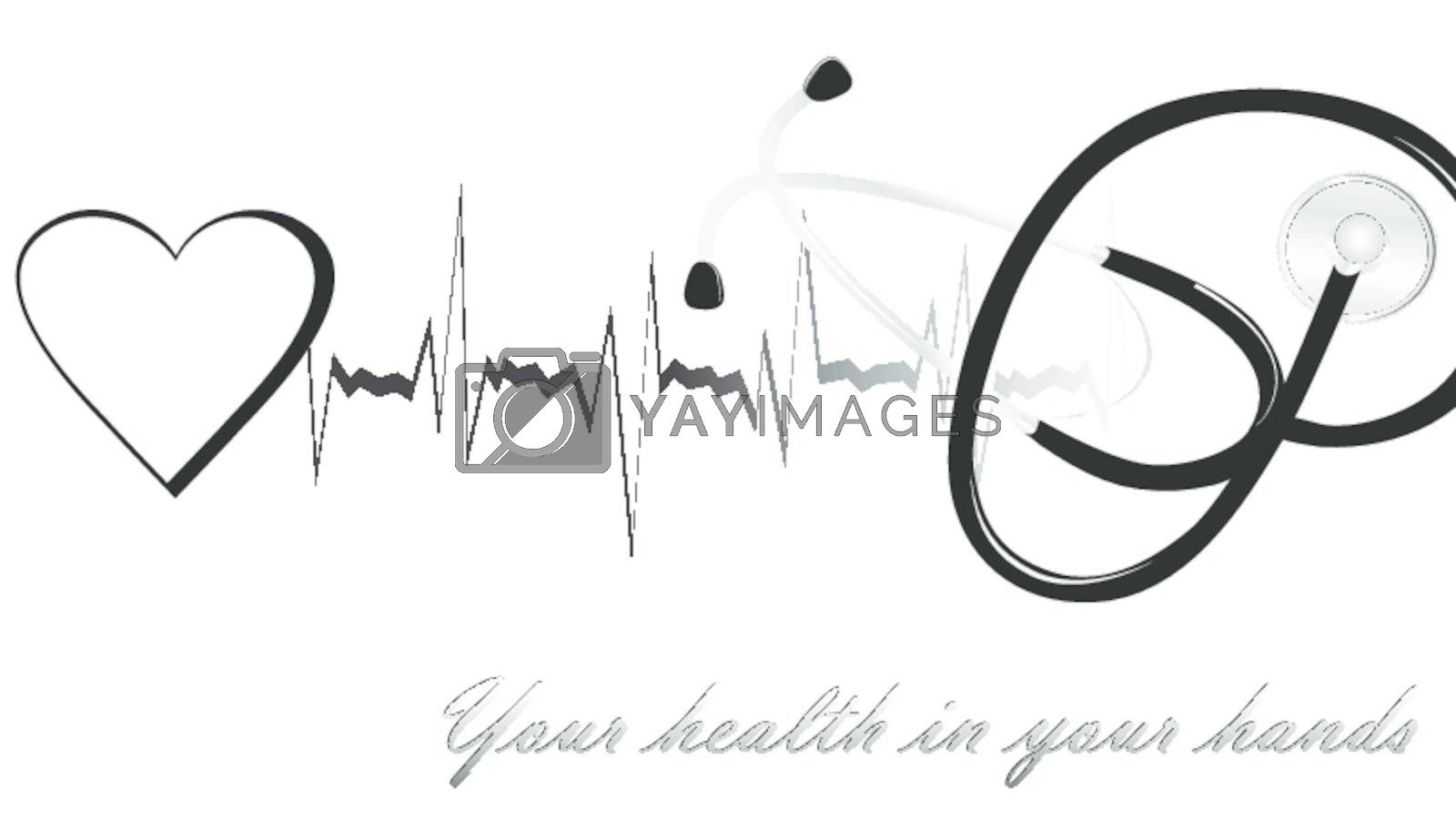 the health theme with stethoscope and electrocardiogram
