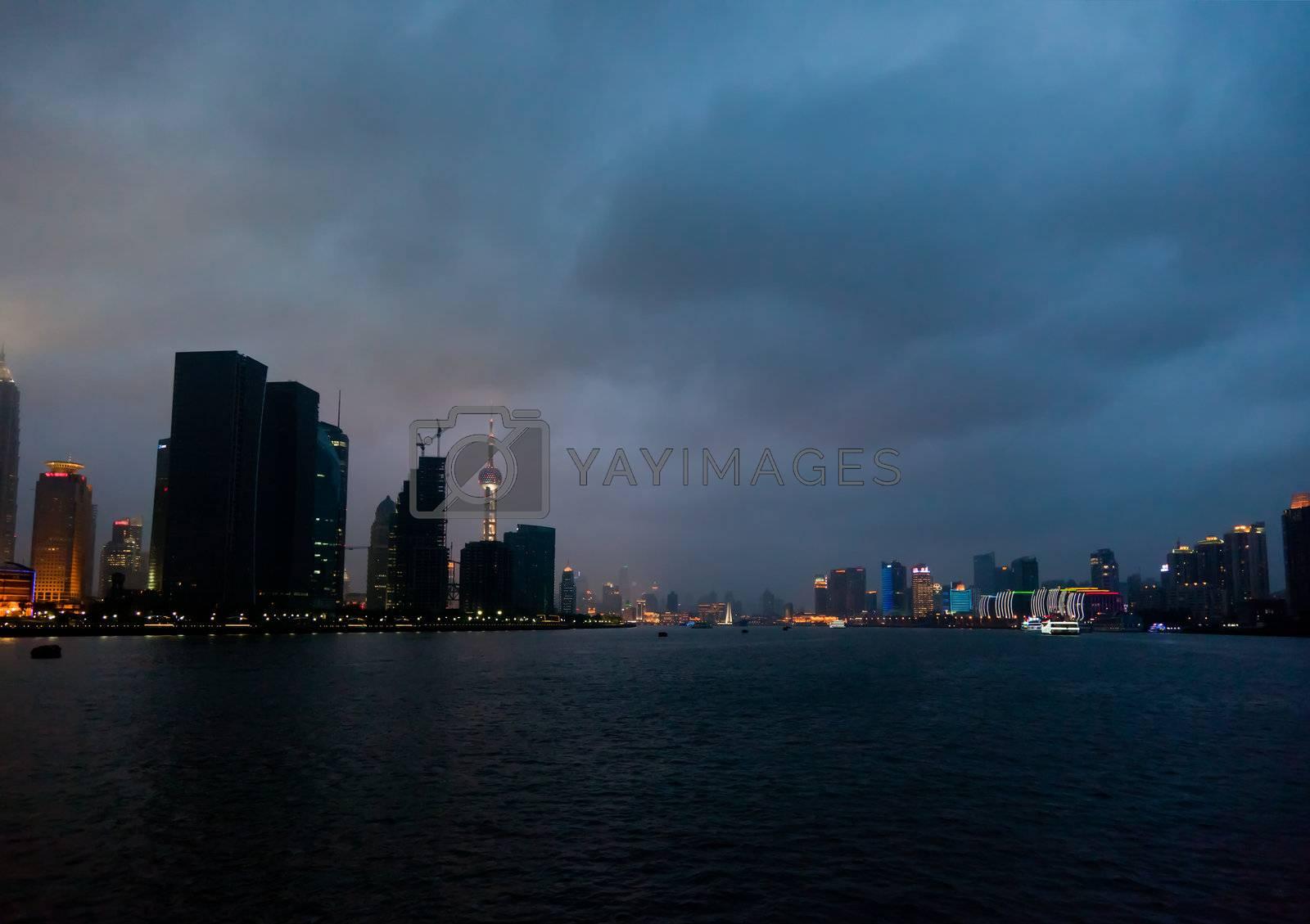 Pudong skyline at night in Shanghai China