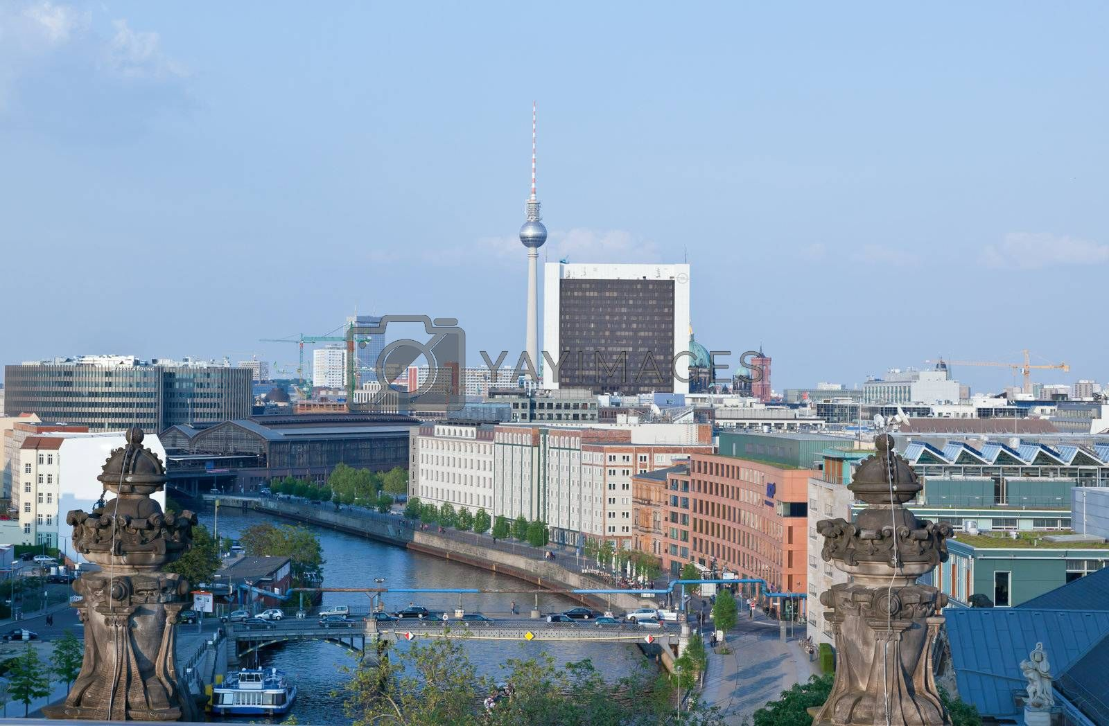 aerial view of central Berlin from the top of the Reichstag building