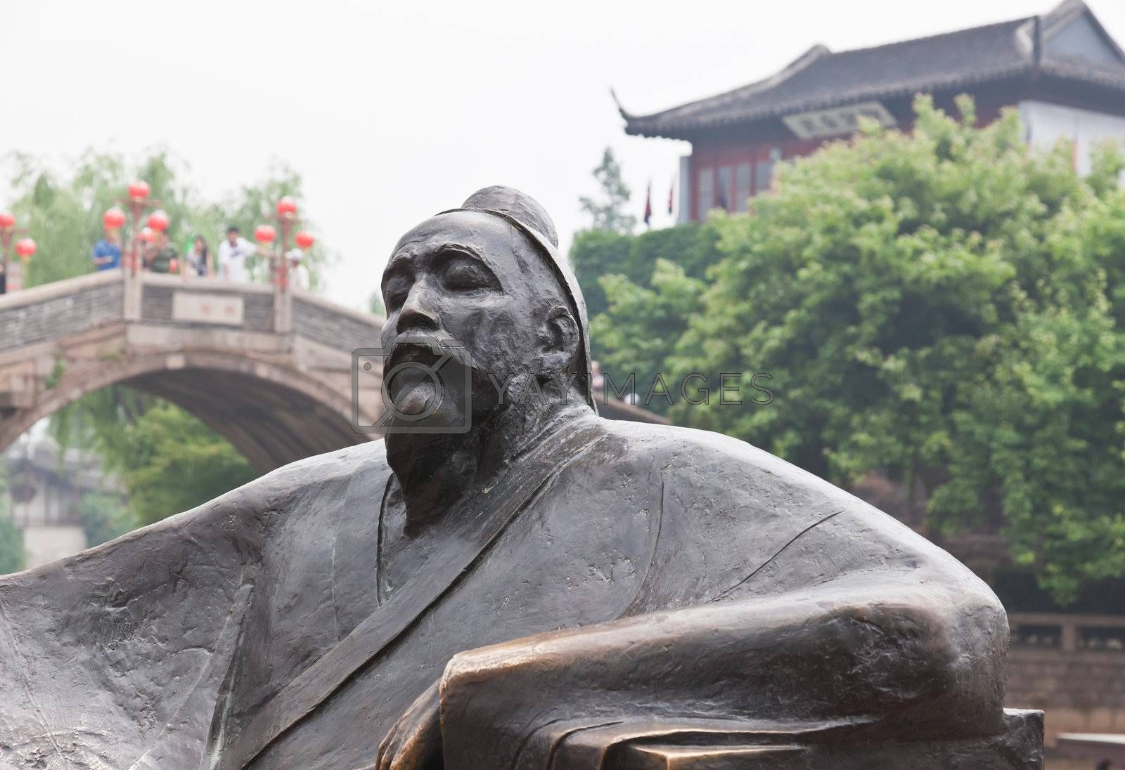 famous poet sculpture in feng-qiao scenery area in water town Suzhou China