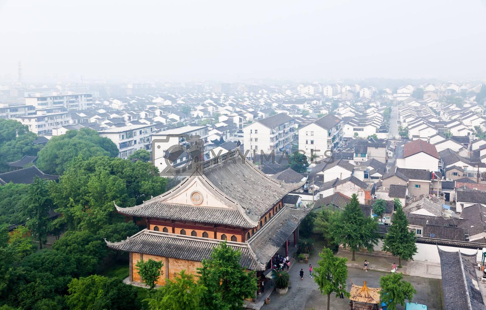 aerial view of Suzhou city from top of Basita pagoda in Suzhou China