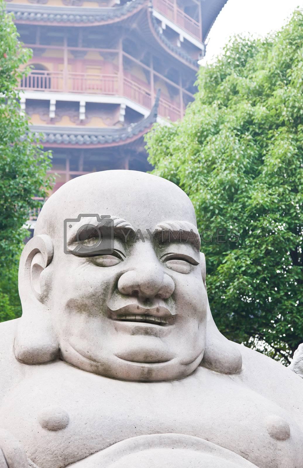 laughing buddha in Basita pagoda in Suzhou China